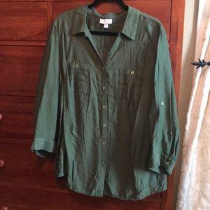 CB Established 1962 3X olive green blouse